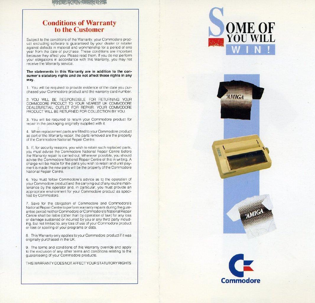 Commodore UK Warranty Card