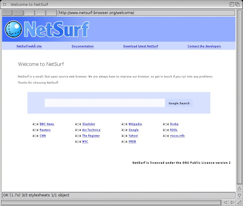 Netsurf new amiga browser port in development