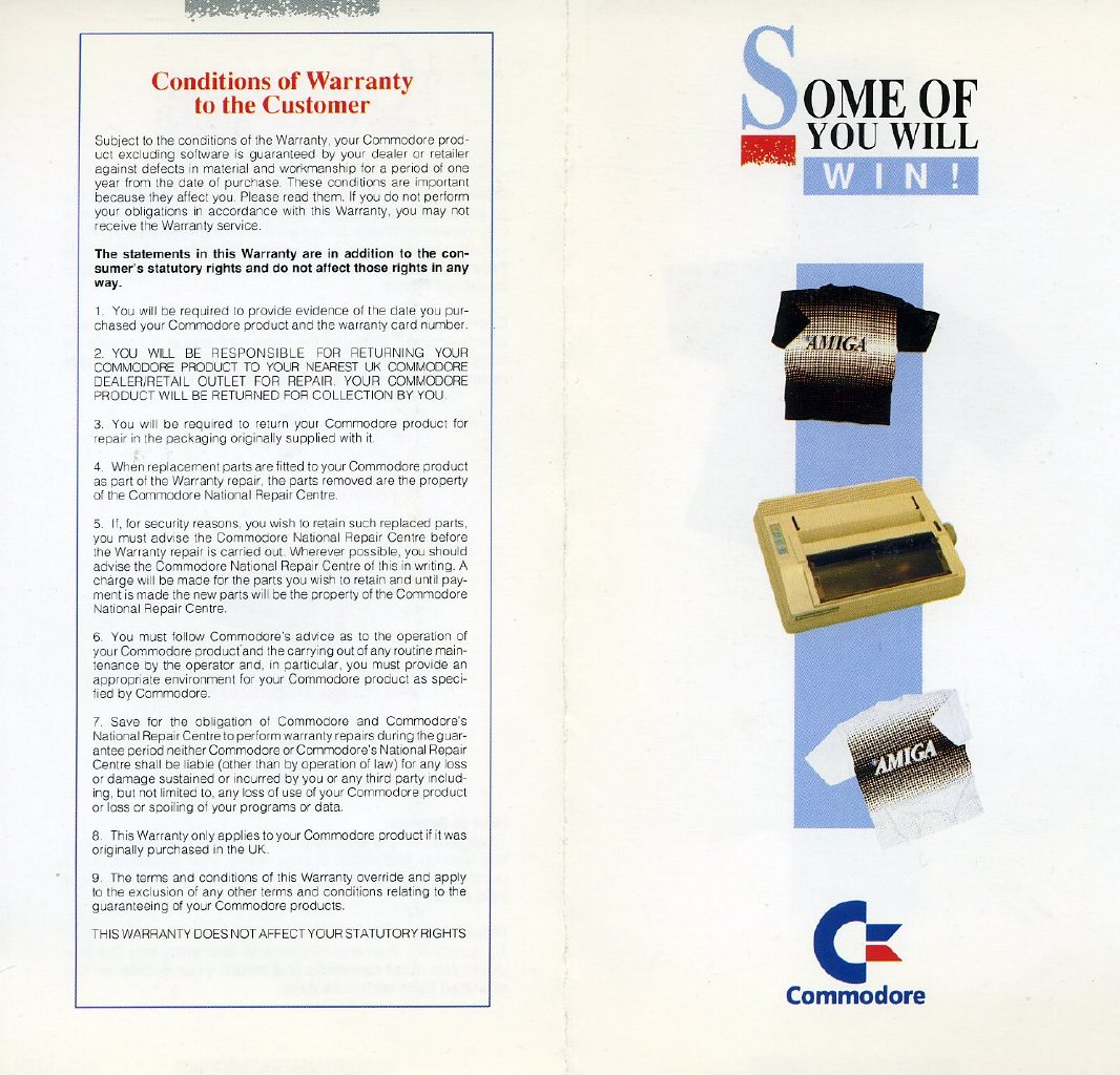 Commodore UK Warranty Card